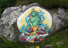 Green Tara rock painting, Holy Isle