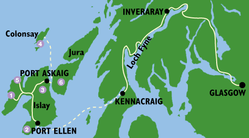 Islay Scotland Map.Islay Jura Colonsay About Argyll Walking Holidays Scotland
