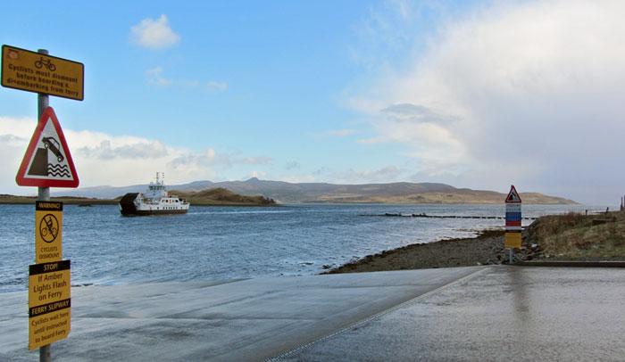 Raasay ferry arriving at Sconser, isle of Skye